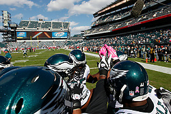 Philadelphia Eagles linebackers come together for a huddle before the NFL game between the Tampa Bay Buccaneers and the Philadelphia Eagles on October 11th 2009. The Eagles won 33-14 at Lincoln Financial Field in Philadelphia, Pennsylvania. (Photo By Brian Garfinkel)