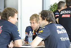 24.11.2011, Autodromo Jose Carlos Pace, Sao Paulo, BRA, F1, Grosser Preis von Brasilien, im Bild Christian Horner (GBR), Red Bull Racing, Sporting Director - Sebastian Vettel (GER), Red Bull Racing // during the Formula One Championships 2011 Grand Prix of Brazil held at the Autodromo Jose Carlos Pace, Sao Paulo, Barzil on 2011/11/24..***** ATTENTION - OUT OF GER, CRO *****