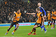 Hull City midfielder David Meyler (7) points at Hull City striker Abel Hernandez (9) after he scores  from the penaly spot during the Sky Bet Championship match between Hull City and Cardiff City at the KC Stadium, Kingston upon Hull, England on 13 January 2016. Photo by Ian Lyall.