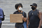 "May 29, 2020 Jackson, MS<br /> A small group of protestors for Black Lives Matter  and ACAB gathered at the Mississippi State Capitol to protest the brutal murder of George Floyd by white police officers in Minnesota. The protestors did not want to speak to the press and chanted black lives matter-and justice for George Floyd. A few were wearing masks that said ""I can't breath"". Photo ©Suzi Altman"