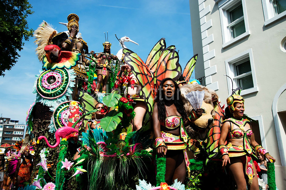 Notting Hill Carnival August 28th 2017. West London, England. Paraiso School of Samba float with an elaborate representation of Paradise.
