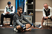 LAS VEGAS, NV - JULY 8:  Matheus Nicolau warms up in the locker room before The Ultimate Fighter Finale at MGM Grand Garden Arena on July 8, 2016 in Las Vegas, Nevada. (Photo by Cooper Neill/Zuffa LLC/Zuffa LLC via Getty Images) *** Local Caption *** Matheus Nicolau