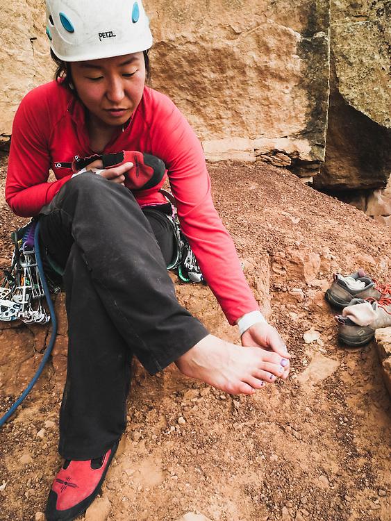 Shiho Kobayashi sports a new coat of purple nail polish, Colorado National Monument.