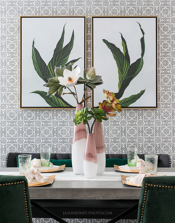 Table top styling vignette for multifamily interior  design