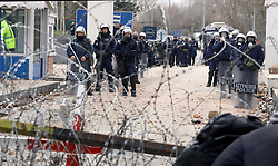 Migrants gather between Pazarkule border gate, Edirne, Turkey, and Kastanies border gate, Evros, as they try to enter Greece, on Saturday, February 29, 2020. Turkish President Recep Tayyip Erdogan said Saturday that his country's borders with Europe were open, as thousands of refugees gathered at the frontier with Greece. Migrants gather between Pazarkule border gate, Edirne, Turkey, and Kastanies border gate, Evros, as they try to enter Greece, on Saturday, February 29, 2020. Turkish President Recep Tayyip Erdogan said Saturday that his country's borders with Europe were open, as thousands of refugees gathered at the frontier with Greece. Migrants gather between Pazarkule border gate, Edirne, Turkey, and Kastanies border gate, Evros, as they try to enter Greece, on Saturday, February 29, 2020. Turkish President Recep Tayyip Erdogan said Saturday that his country's borders with Europe were open, as thousands of refugees gathered at the frontier with Greece. Photo by Goktay Koraltan/Depo Photos/ABACAPRESS.COM