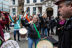 London, UK. 12th January, 2019. A samba band entertains supporters of Brazilian Women Against Fascism and Ele Não Students London demonstrating outside the Brazilian embassy in solidarity with women, students, environmental campaigners, black communities, LGBTQIA+ communities, indigenous peoples, peasants and workers protesting in Brazil following the inauguration of President Jair Bolsonaro.