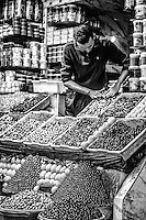Olives on sale at local market in Meknes, Morocco.