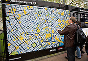 Large location map for tourists, Leicester Square, London, England