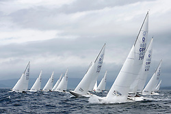 International Dragon Class Edinburgh Cup 2015.<br /> <br /> The first days racing in a strong southerly.<br /> <br /> Startline with GBR795, EXCITE, Tom Vernon<br /> <br /> <br /> Credit Marc Turner