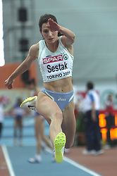 Marija Sestak of Slovenia placed second at the final of Women Triple  jump at the 3rd day of  European Athletics Indoor Championships Torino 2009 (6th - 8th March), at Oval Lingotto Stadium,  Torino, Italy, on March 8, 2009. (Photo by Vid Ponikvar / Sportida)