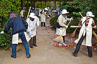Japanese Volunteer Cleanup Crew attacking fallen leaves at Heian Shrine with a vengeance.