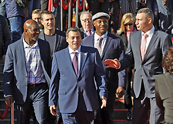 October 1, 2018 - Kiev, Ukraine - (L-R) Ex boxing champion of the World Evander Holyfield,Ukrainian heavyweight boxing champion Vladimir Klitschko, WBC President Mauricio Sulaiman,ex boxing champion Lennox Lewis and Kiev's Mayor and ex heavyweight boxing champion Vitali Klitschko attend an official opening of the 56th WBC ( World Boxing Council ) Convention in Kiev, Ukraine, 01 October, 2018. The 56th WBC Convention takes place in Kiev from September 30 to October 05. The event participate of boxing legends Lennox Lewis, Evander Holyfield, Eric Morales, Alexander Usik, Vitali Klitschko and about 700 congress participants from 160 countries. (Credit Image: © Str/NurPhoto/ZUMA Press)