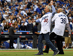 November 1, 2017 - Los Angeles, CA, USA - Sandy Koufax (32) and Don Newcombe (36) throw out the first pitch prior to game seven of a World Series baseball game against the Houston Astros at Dodger Stadium on Wednesday Nov. 1, 2017 in Los Angeles. (Credit Image: © Keith Birmingham/Los Angeles Daily News via ZUMA Wire)