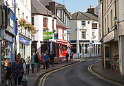Shops and shoppers, Abergavenny, Monmouthshire, South Wales, UK