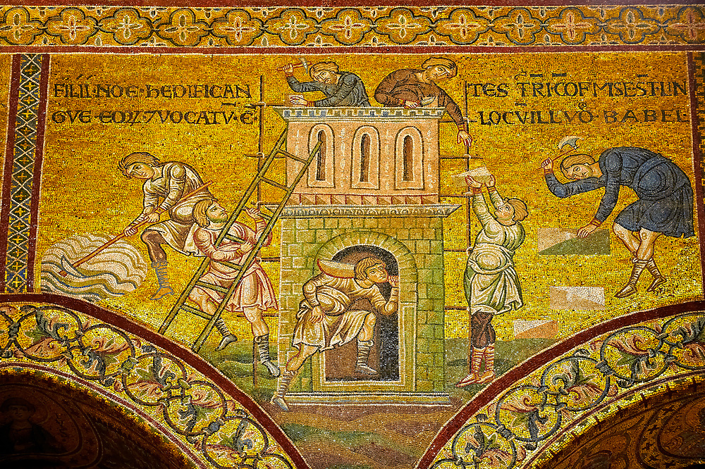 Medieval Byzantine mosaics of Noahs Sons rebuilding their home, Monreale Cathedral, Sicily .<br /> <br /> If you prefer you can also buy from our ALAMY PHOTO LIBRARY  Collection visit : https://www.alamy.com/portfolio/paul-williams-funkystock/monrealeduomomosaics.html. Refine search by adding subject etc  into the LOWER SEARCH WITHIN GALLERY box. <br /> <br /> Visit our BYZANTINE MOSAIC PHOTO COLLECTION for more   photos  to download or buy as prints https://funkystock.photoshelter.com/gallery-collection/Roman-Byzantine-Art-Artefacts-Antiquities-Historic-Sites-Pictures-Images-of/C0000lW_87AclrOk