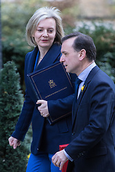 Downing Street, London, February 28th 2017.Justice Secretary and Lord Chancellor Liz Truss and Welsh Secretary Alun Cairns attend the weekly cabinet meeting at 10 Downing Street in London.