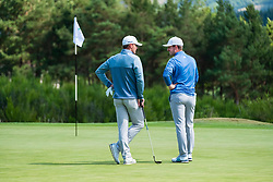 Gleneagles, Scotland, UK; 9 August, 2018.  Day two of European Championships 2018 competition at Gleneagles. Men's and Women's Team Championships Round Robin Group Stage - 2nd Round. Four Ball Match Play format. Team GB players Liam Johnstone (l) and Connor Syme on the 11th green