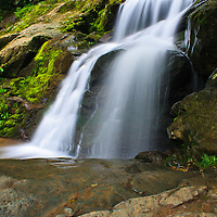 Landscape image of the bottom of the top portion of Dark Hollow Falls, Shenandoah National Park, Virginia.