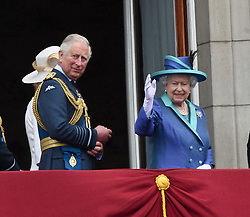 The Queen and other Members of the Royal Family attend Buckingham Palace to mark the centenary of the RAF<br /><br />10 July 2018.<br /><br />Please byline: Neil Warner/Vantagenews.com