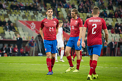 November 15, 2018 - Gdansk, Pomorze, Poland - Przemyslaw Frankowski (21) Tomasz Kedziora (15) Rafal Pietrzak (2) during the international friendly soccer match between Poland and Czech Republic at Energa Stadium in Gdansk, Poland on 15 November 2018  (Credit Image: © Mateusz Wlodarczyk/NurPhoto via ZUMA Press)