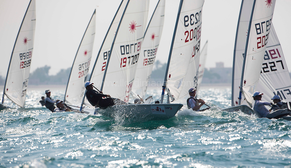 Laser World Championships 2013. Mussanah. Oman. Day 1 of racing close to the Mussanah shore.<br /> Credit: Lloyd Images