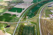 Nederland, Zeeland, Vlissingen-Oost, 09-05-2013; Nieuwe Sloelijn, goederenspoorlijn tussen het Sloegebied en de spoorlijn tussen Roosendaal en Vlissingen (Zeeuwse lijn). Intakking op havenspoorlijn (re).<br /> New Sloelijn, freight railway line between the harbor and the railway line between Vlissingen and Roosendaal (Zeeland line).<br /> luchtfoto (toeslag op standard tarieven);<br /> aerial photo (additional fee required);<br /> copyright foto/photo Siebe Swart.