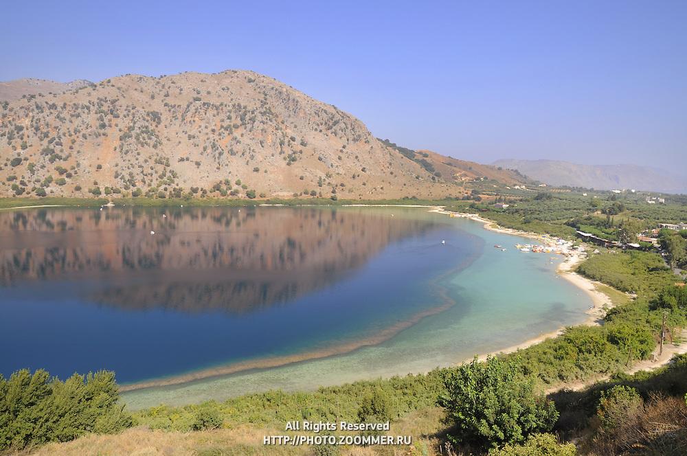 Crete lake Kournas iconic view