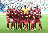 05/06/15 INTERNATIONAL CHALLENGE MATCH<br /> SCOTLAND v QATAR<br /> EASTER ROAD STADIUM - EDINBURGH<br /> The Qatar team line-up ahead of kick-off