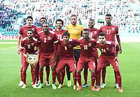 05/06/15 INTERNATIONAL CHALLENGE MATCH<br /> SCOTLAND v QATAR<br /> EASTER ROAD STADIUM - EDINBURGH<br /> The Qatar team line-up ahead of kick-off