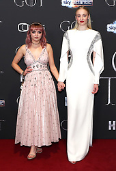 Maisie Williams (left) and Sophie Turner attending the Game of Thrones Premiere, held at Waterfront Hall, Belfast.
