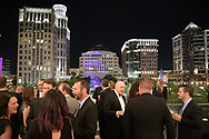 The downtown skyline is viewed from the Dr. Phillips Center for the Performing Arts during a banquet in Orlando, Fla., Saturday, April 1, 2017. (Phelan M. Ebenhack via AP)
