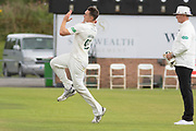 Gavin Griffiths bowling during the Specsavers County Champ Div 2 match between Durham County Cricket Club and Leicestershire County Cricket Club at the Emirates Durham ICG Ground, Chester-le-Street, United Kingdom on 19 August 2019.