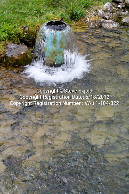 Lanesboro State Fish Hatchery for trout. Water aerator for rainbow trout fingerlings. Lanesboro Minnesota MN USA