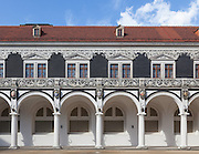 The Stable Courtyard of Dresden Castle in Dresden, Germany. This was where the jousting tournaments used to be held near the Castle and the reverse hold the Procession of the Princes mural.