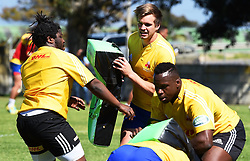 Cape Town-180911- Western Province players Scara Ntubeni,Daniel du Plessies and Michael Kumbirai practising some tackles during a training session at the Bellville HPC .Photographs:Phando Jikelo/African News Agency/ANA