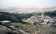 Landscape view over town of Petra, Jordan in 1998