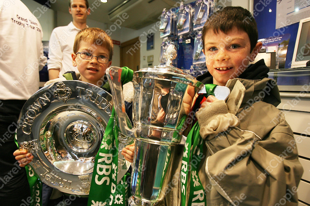 Kieran and Michael Kelly ,Labasheda got to hold the Six Nations and Triple Crown Silverwear at the O2 Store ,Ennis on Sunday.<br /> <br /> Photograph by Eamon Ward