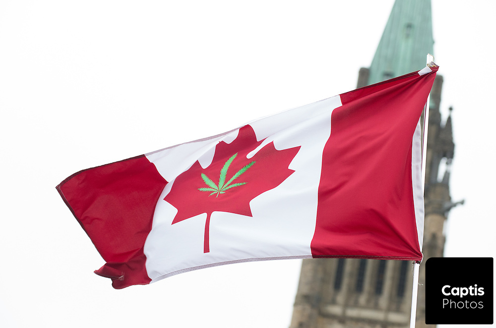 A cannabis Canada flag in front of the Peace tower. April 20, 2015