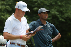 August 9, 2018 - St. Louis, Missouri, United States - Tiger Woods (R) and Justin Thomas wait on the tee during the first round of the 100th PGA Championship at Bellerive Country Club. (Credit Image: © Debby Wong via ZUMA Wire)
