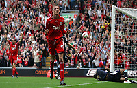 Photo: Paul Thomas.<br /> Liverpool v West Ham United. The Barclays Premiership. 26/08/2006.<br /> <br /> Peter Crouch celebrates his goal for Liverpool.