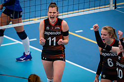 Emily Silderhuis of Talent Team in action in the first league match in the corona lockdown between Talentteam Papendal vs. Sliedrecht Sport on January 09, 2021 in Ede.