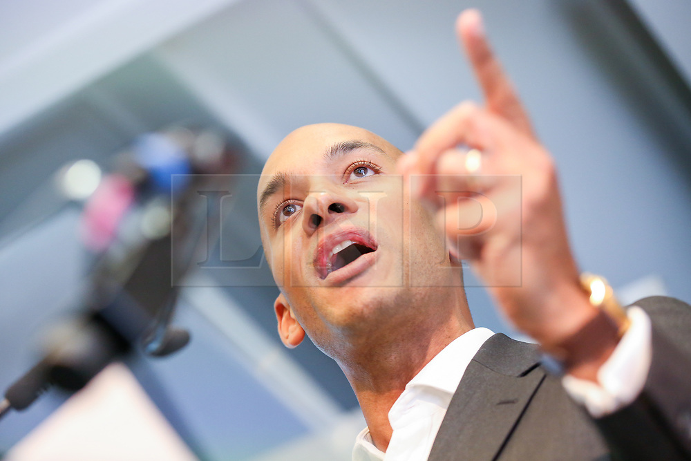 © Licensed to London News Pictures. 30/04/2019. London, UK. Change UK's spokesperson Chuka Umunna speaking at the Change UK's People's Vote Remain rally for the European Elections in Westminster. Photo credit: Dinendra Haria/LNP