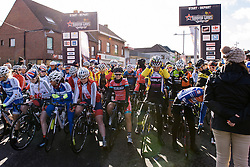 Riders amass at the start line - Le Samyn des Dames 2016, a 113km road race from Quaregnon to Dour, on March 2, 2016 in Hainaut, Belgium.