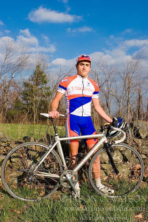 Virginia Cavaliers Stephen DeLisle..Members of the University of Virginia Cycling Team met at Reeds Gap on the Blue Ridge Parkway in Virginia on April 9, 2007 for a team photo shoot.