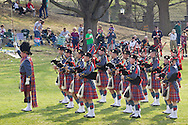 West Point, New York - The Virginia Military Institute Pipe Band performs at the 32nd annual West Point Military Tattoo at Trophy Point at the United States Military Academy  on April 13, 2014.