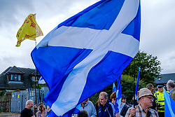 Lanark, Scotland, UK 20th August 2016   A march and ceremony to commemorate the death of Scottish Hero William Wallace (23rd August 1302) held on Saturday 20th August 2016.  Wallace has strong connections with the town of Lanark.