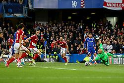 Eden Hazard of Chelsea slides the ball past Brad Guzan of Middlesbrough - Mandatory by-line: Jason Brown/JMP - 08/05/17 - FOOTBALL - Stamford Bridge - London, England - Chelsea v Middlesbrough - Premier League