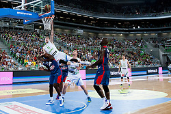 Goran Dragic of Slovenia flying during last friendly match before Eurobasket 2013 between National teams of Slovenia and France on August 31, 2013 in SRC Stozice, Ljubljana, Slovenia. (Photo by Urban Urbanc / Sportida.com)