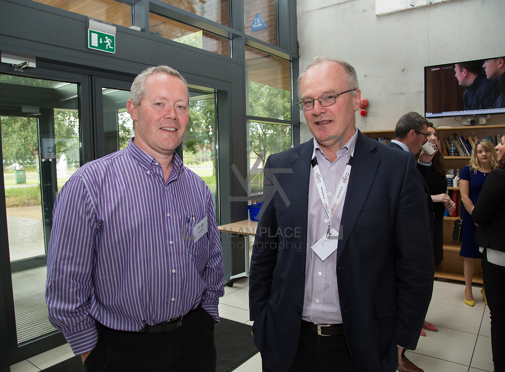 31.08. 2017.                                   <br /> Leaders in the pharmaceutical manufacturing sector in Ireland gathered at University of Limerick today for the third annual Pharmaceutical Manufacturing Technology Centre (PMTC) Knowledge Day.<br /> <br /> Pictured at the event were, Stan O'Neill, Compliance Group and Padraig Somers, Helsinn.<br /> <br /> The event provided a showcase for the cutting-edge research supported by the centre with key note addresses from industry thought leaders who shared their vision of the future for the pharmaceutical sector. Picture: Alan Place