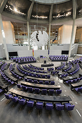 Debating chamber of the Reichstag parliament building in Berlin Germany